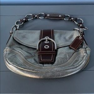 Silver Coach Purse, with gold hardware/brown trim